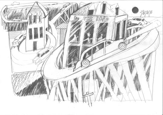 """A sketch from British filmmaker Peter Greenaway's inspired by the Kerouac novel """"On the Road"""