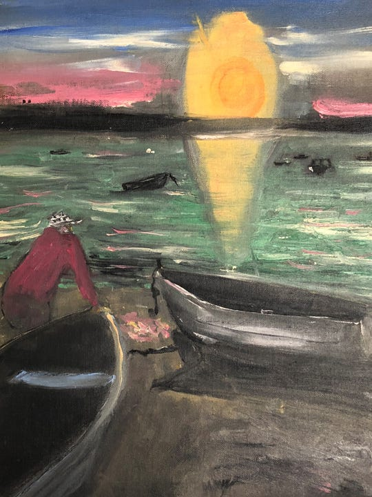 Jack Kerouac depicts a sunset scene in this oil painting.