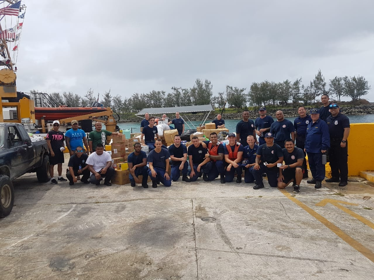 The Guam Fire Department, working with the Western Pacific Islands Association of Fire Chiefs, recently held a relief drive on Guam Rota residents the wake of Typhoon Mangkhut, which made landfall on September 10, 2018.  More than 10 pallets of canned goods, butane stoves, clothing, flashlights, and batteries were donated from community members and businesses. Coast Guard Sector Guam launched the Cutter Kiska to transport the goods on Sept. 19, GFD said.