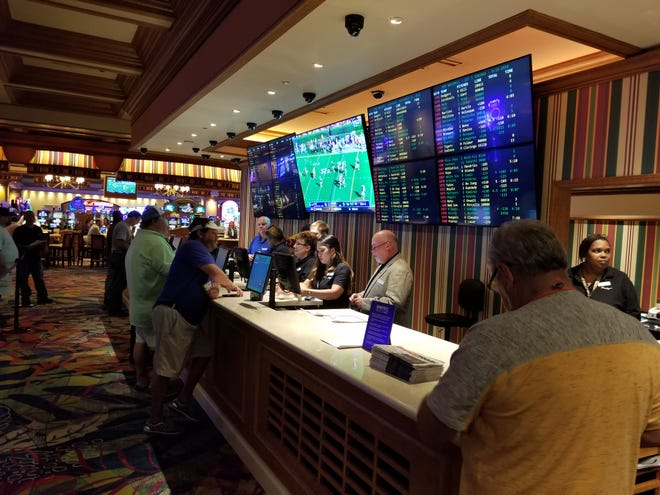 A view of the betting line at the Beau Rivage sports book on Saturday, Sept. 15, 2018.