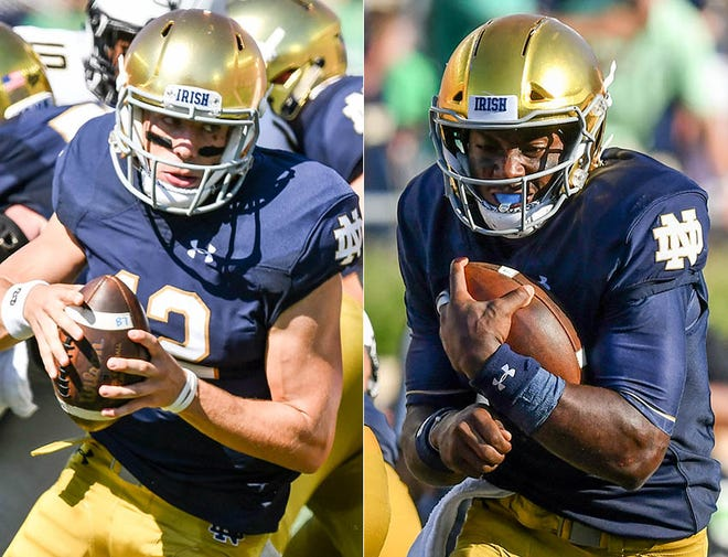 Notre Dame quarterback's Ian Book (left) and Brandon Wimbush.