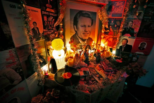 A collection of Jimmy Swaggart memorabilia is seen at this art display at the Healer, an all-ages, interactive art and music venue, Thursday, Sept. 20, 2018.