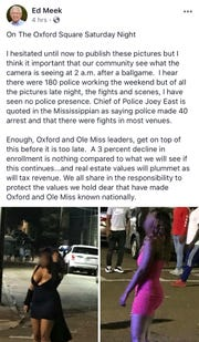 A screenshot taken by the Clarion Ledger shows the controversial Facebook post made by Ed Meek, the namesake of the Meek School of Journalism and New Media at the University of Mississippi. Meek published the post around 2 p.m. Wednesday, Sept. 19, 2018, and deleted that evening. (Editor's note: The faces of the women were obscured by the Clarion Ledger.)