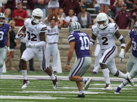 Mississippi State's Brian Cole (32) returns a kickoff at Kansas State. Mississippi State and Kansas State played in a college football game on Saturday, September 8, 2018, in Manhattan, Kansas. Photo by Keith Warren/Madatory Photo Credit