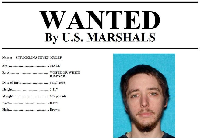 Steven Stricklin is wanted by the U.S. Marshals for his alleged involvement in at least one vehicle theft in Hardin County.
