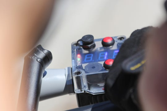 """This device, called a C3FT and prounced as """"see three feet,"""" will be used on two Knoxville Police Department bicycles to measure the distance between the bikes and passing cars."""