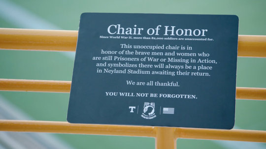 The new POW/MIA Chair of Honor and a plaque were installed in Neyland Stadium this week to honor the country's prisoners of war.