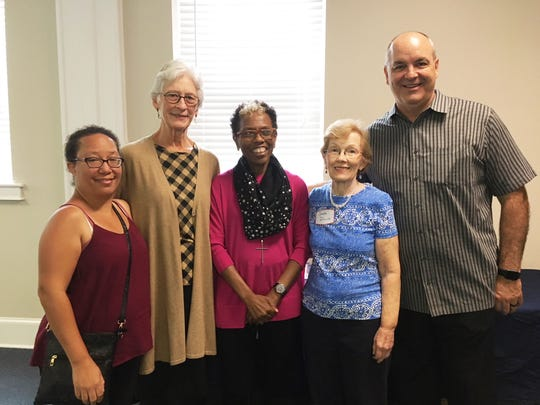 Members of the planning committee for the event are Stephanie Blue, Celia Ferguson, Leah Burns and Sandra Dimick. (Not shown: Ivee Miles Slater, Pat Bellingrath and Jean Galyon.) On the right is the Rev. Tim Paul, pastor of Second UMC.