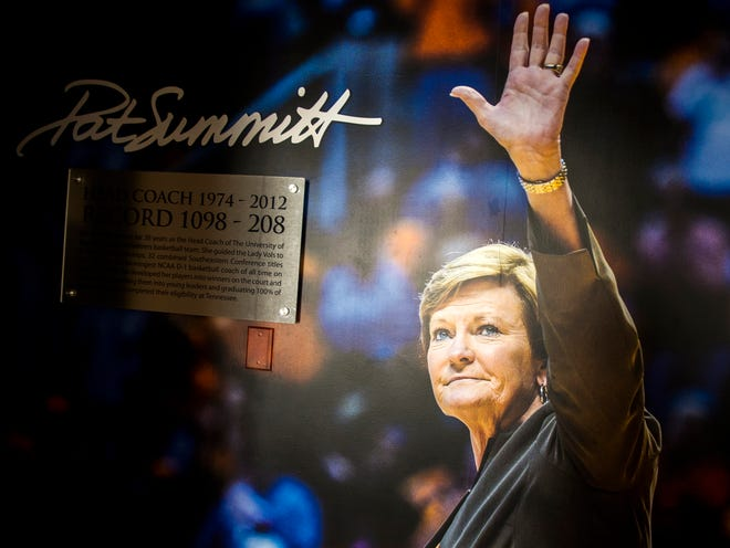 A Pat Summitt mural at the entrance way inside the Pat Summitt Suite at The Tennessean Hotel in downtown Knoxville.