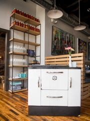 An old stove is used as a hostess stand at Rebel Kitchen, a new restaurant at 108 W. Jackson Avenue in Knoxville's Old City.