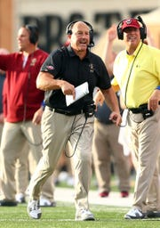 Boston College head coach Steve Addazio reacts to a replay in the second quarter against Wake Forest.