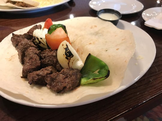Amer's Grill Mediterranean Cuisine Beef shish kebab was tender and tasty with a nice blend of spices and natural steak flavor.