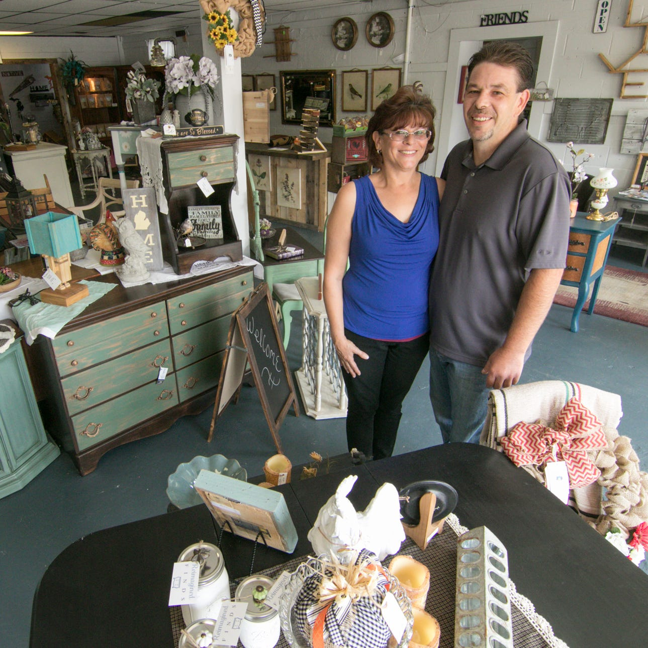 Shari Blackburn and Joe Pedrotti have opened Heritage Home Accents and Decor in Brighton Township, shown Thursday, Sept. 20, 2018.