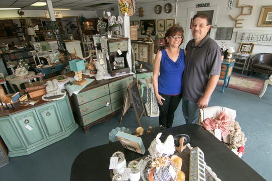 Shari Blackburn and Joe Pedrotti, who opened Heritage Home Accents & Decor in Brighton Township, shown Thursday, Sept. 20, 2018, are gearing up to host their first monthly weekend Heritage Home Marketplace Feb. 22-24.