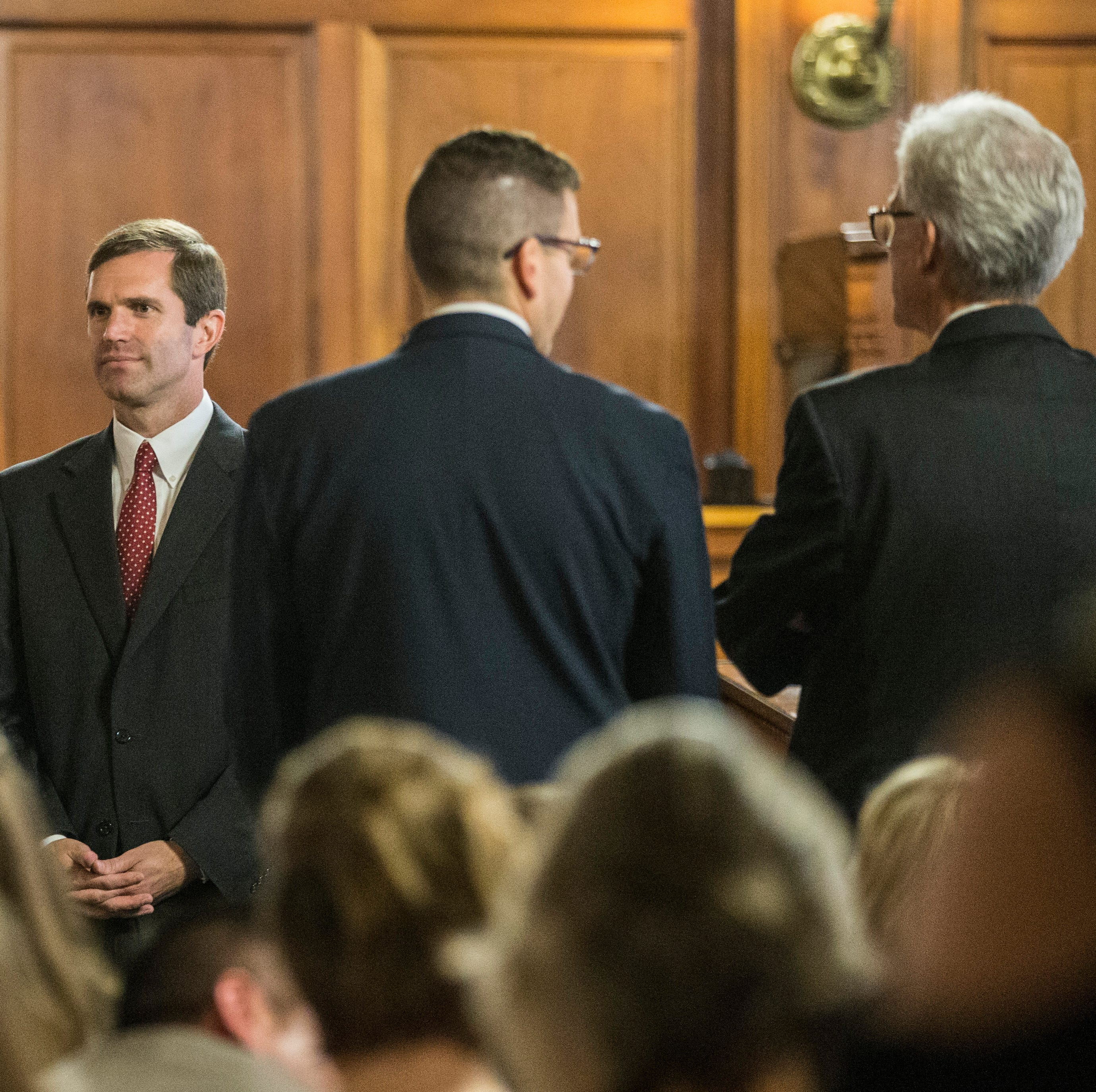 Attorney General Andy Beshear, standing inside the Kentucky Supreme Court before the hearing about the pension bill, says Republicans illegally zipped the bill through the legislative process and that it violates contract rights of thousands of public employees.Sept. 20, 2018