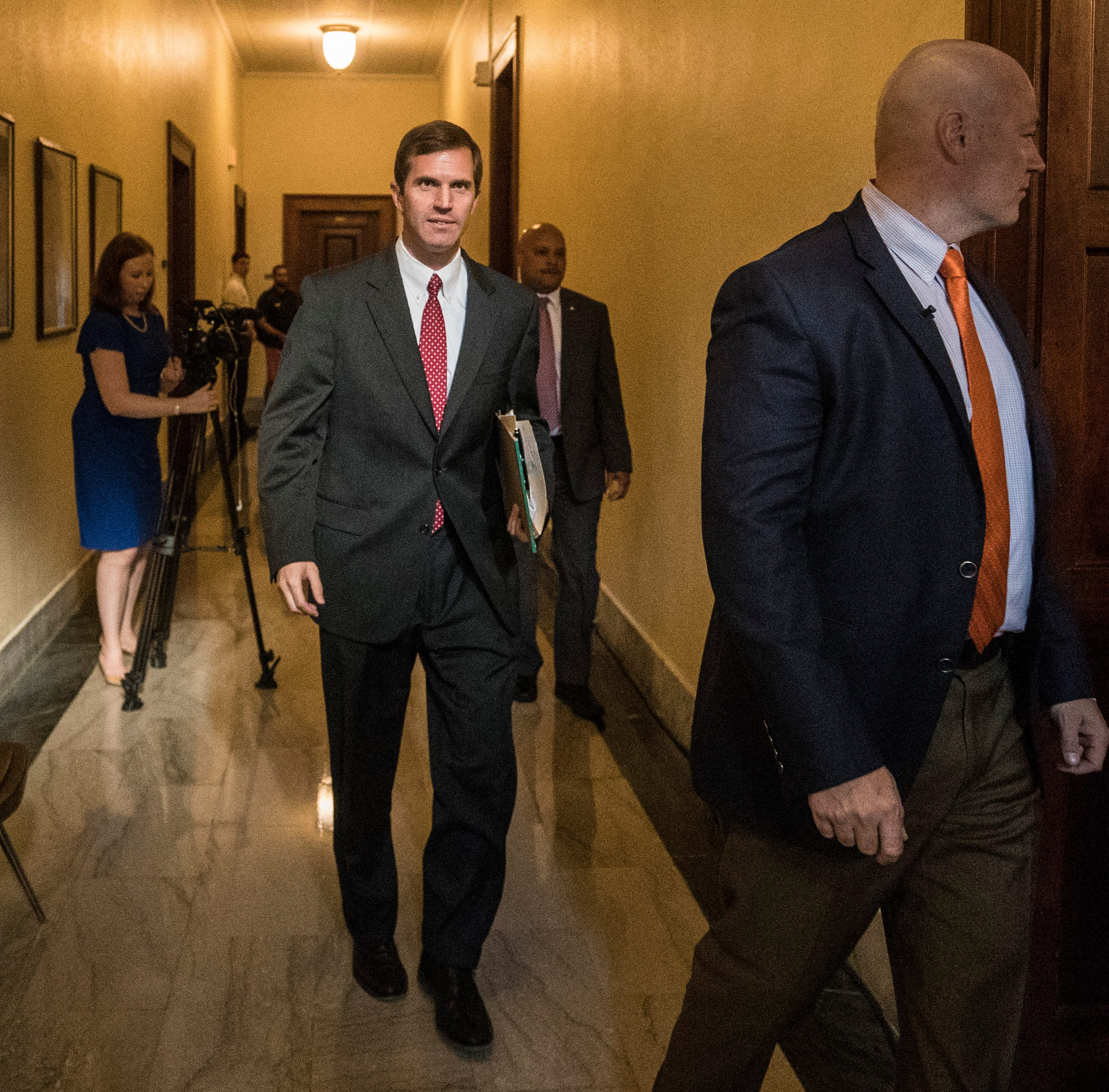Attorney General Andy Beshear, heading to the Kentucky Supreme Court, says Republicans illegally zipped the bill through the legislative process and that it violates contract rights of thousands of public employees. Sept. 20, 2018