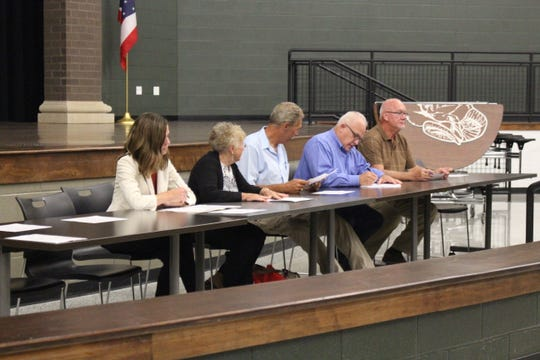 (From left to right) Madison school board members Amy Walker, Jane McGinty, Jeff Meyers, John Luedy and Tim Wigton vote to come out of executive session Wednesday, Sept. 19, 2018. The board met in executive session for more than three hours but took no public actions.