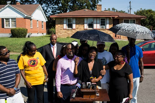 September 20 2018 - Janice Banks, the mother of Martavious Banks, the man who was shot by Memphis police officers, speaks during a press conference Thursday morning at the corner of Gill Street and Elvis Presley Boulevard in front of the house near where her son was shot.