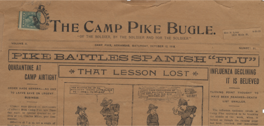 Camp Pike's newspaper reports on the Spanish flu epidemic.