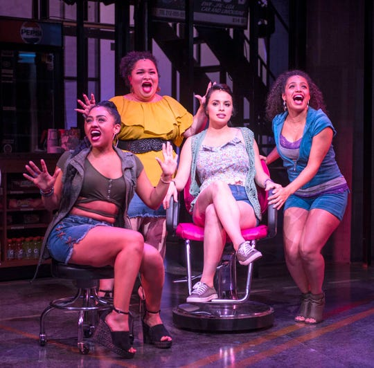 "Stephanie Gomérez (left), Lillian Castillo, Sophia Macías and Alyssa V. Gomez schmooze at the salon during ""In the Heights,"" performed at the Milwaukee Repertory Theater's Quadracci Powerhouse."