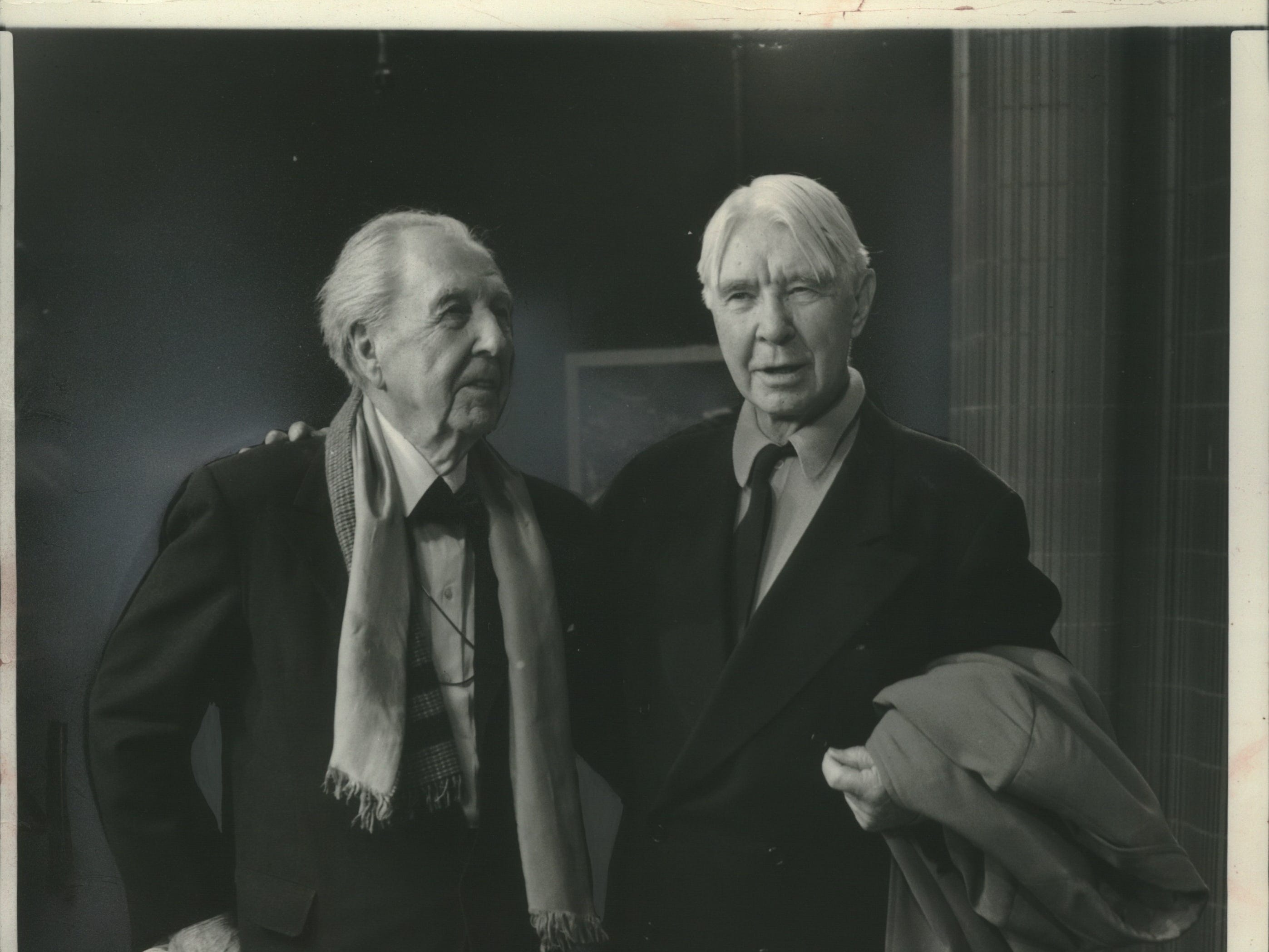 1957: Architect Frank Lloyd Wright (left) and poet Carl Sandburg appeared together on a television show in Chicago.