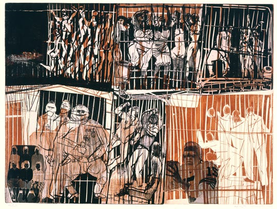 """In Birmingham Jail,"" 1963, by Warrington Colescott."