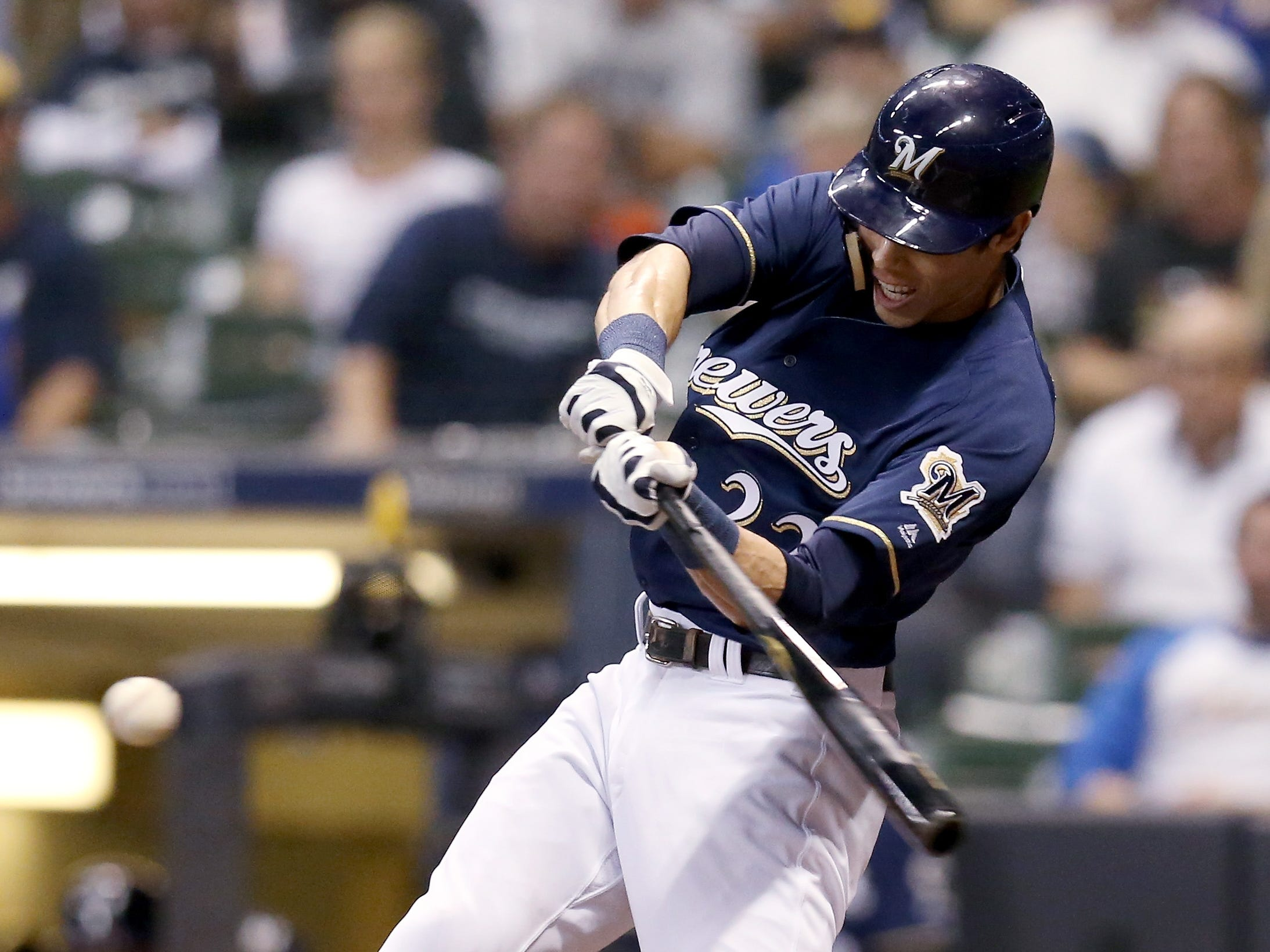 Christian Yelich gets the Brewers' offense going against the Reds in the first inning with a double to the gap in left-center field. Yelich would later advance to third on a passed ball and score on an infield single by Jesus Aguilar to give the Brewers a 1-0 lead.