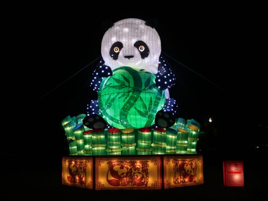 The first display visitors to China Lights will see is a giant Panda sculpture covered with thousands of pingpong balls that is sitting outside the festival entrance.