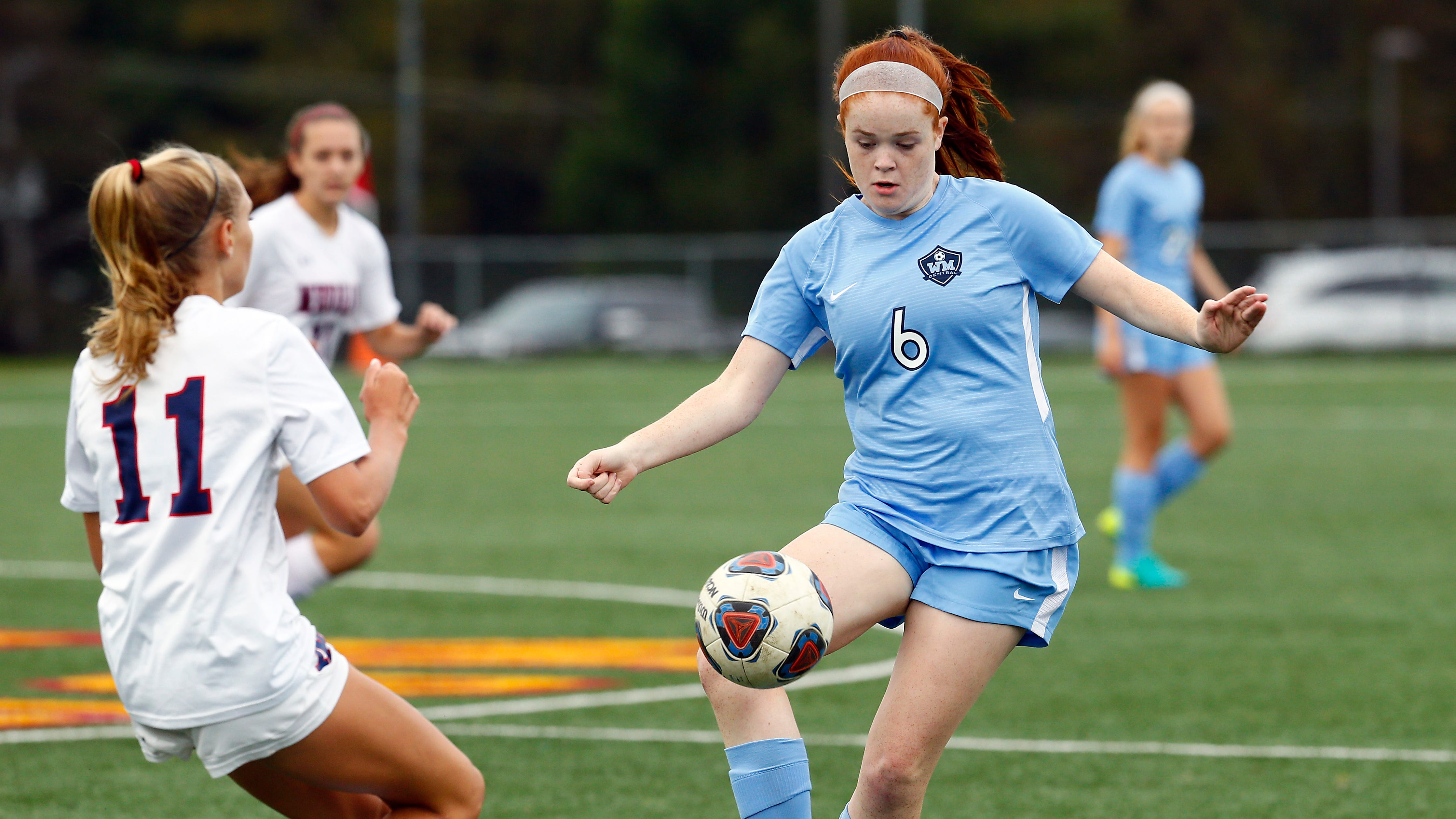 West Morris' Bridget Moylan controls the ball vs. Mendham during their NJAC-American girls soccer match. September 19, 2018, Mt Olive, NJ