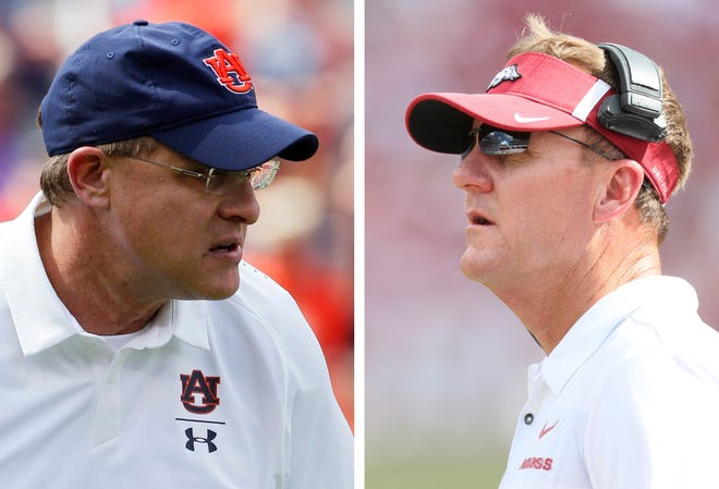 Auburn head coach Gus Malzahn (left) and Arkansas head coach Chad Morris (right) are longtime friends who will face off on the field Saturday.