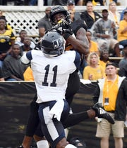 Southern Mississippi receiver Quez Watkins, catching a touchdown pass against Jackson State, is from Athens.