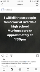 "In this photo, an anonymous account under the name ""boi.niccc"" threatens to ""kill these people"" at Riverdale High School in Murfreesboro, Tenn."