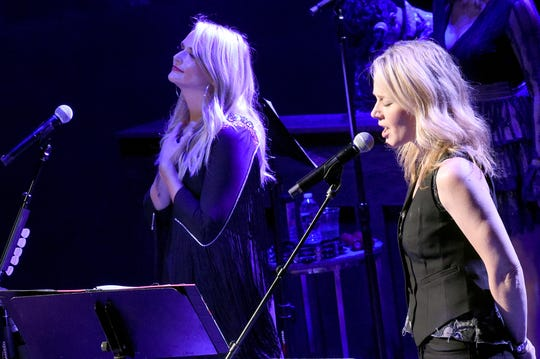 NASHVILLE, TN - SEPTEMBER 19:  Miranda Lambert (L) and Allison Moorer perform onstage to kick off Miranda Lambert's sold out residency at The Country Music Hall of Fame and Museum on September 19, 2018 in Nashville, Tennessee.
