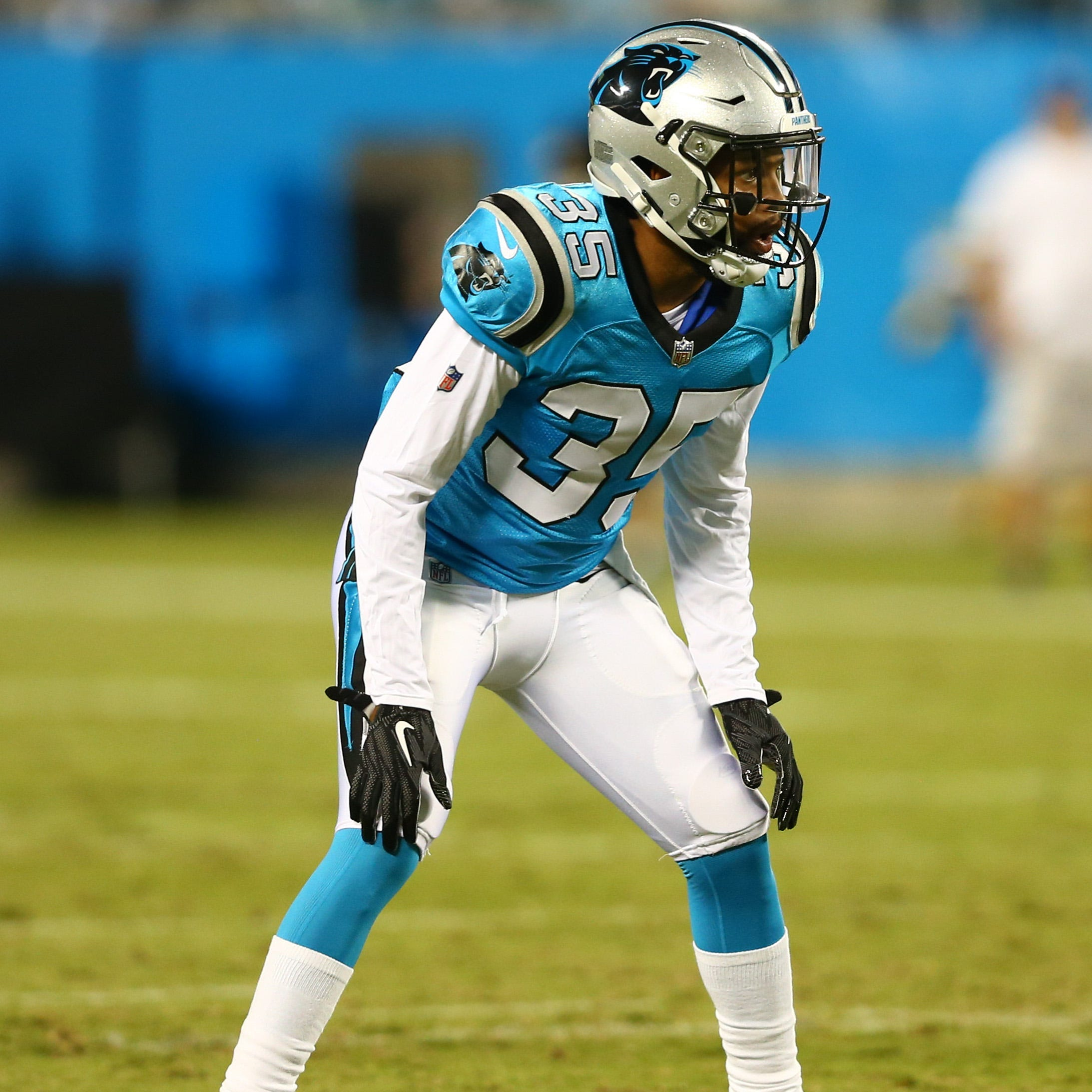 Aug 17, 2018; Charlotte, NC, USA; Carolina Panthers cornerback Corn Elder (35) lines up during the first half against the Miami Dolphins at Bank of America Stadium. Mandatory Credit: Jeremy Brevard-USA TODAY Sports