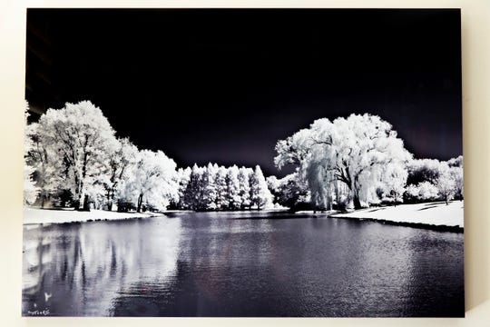 An infrared photo of Pepsico headquarters in Harrison, N.Y., by Morris Herstein, as seen at his home in Naples on Thursday, Sept. 20, 2018.