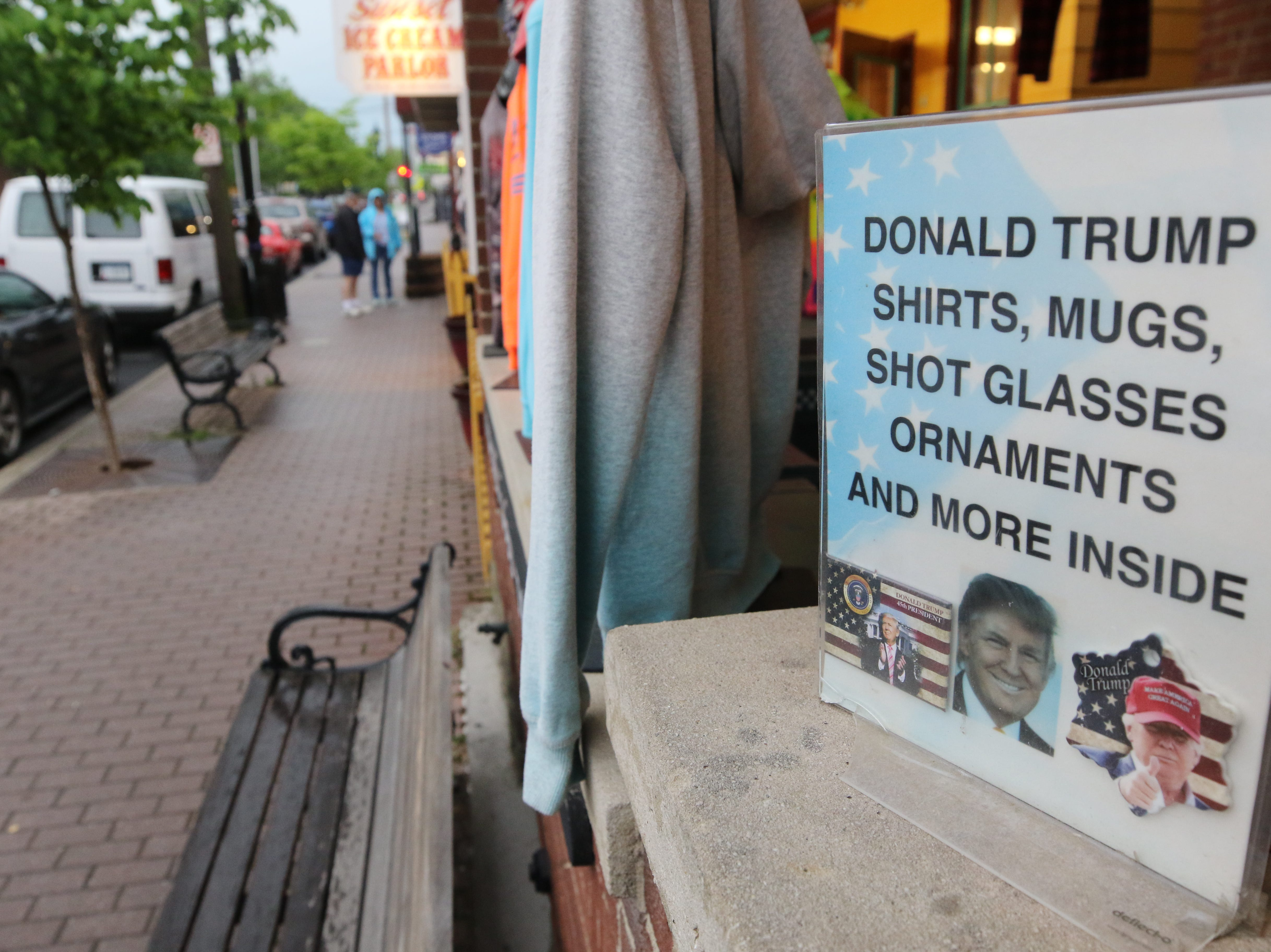A souvenir shop offers Donald Trump gifts and collectibles.