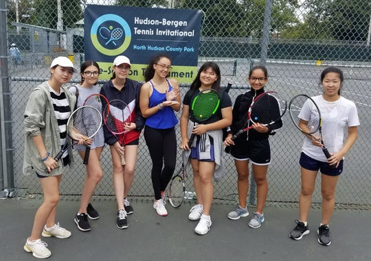 Hudson-Bergen Invitational (left to right): Wendy Kim, Emily Moreira, Sarah Greiner, Nicolette Cruz, Juliana Kim, Liz Garcia, Hannah Kim