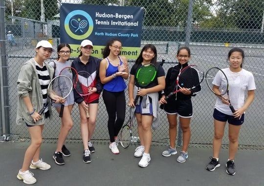 Hudson-Bergen Invitational (left to right): Wendy Kim, Emily Moreira, Sarah Greiner, Nicolette Cruz, Juliana Kim, Liz Garcia, Hannah Kim