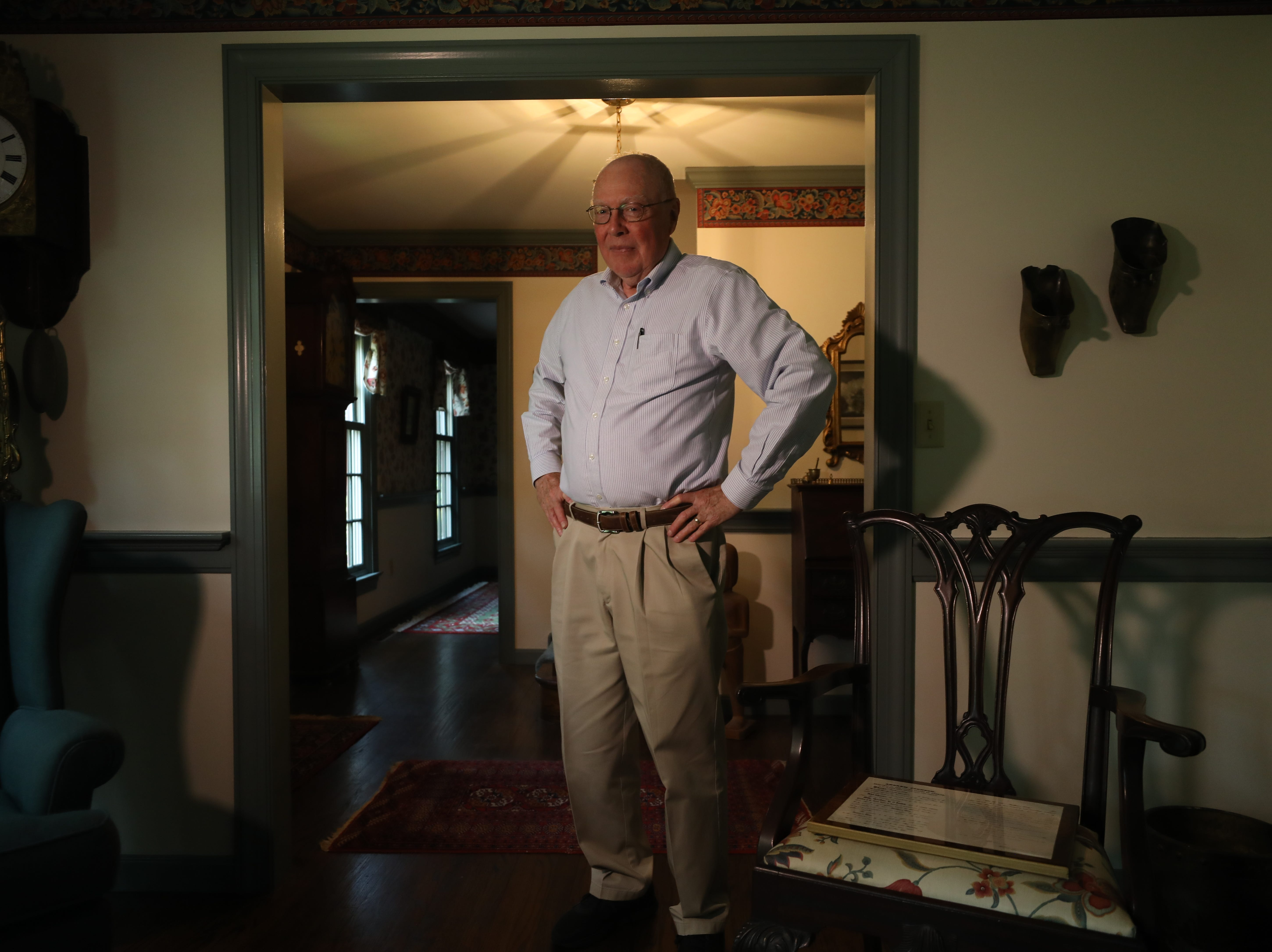 Retired Gettysburg College Spanish Professor Currie Kerr Thompson at his home. Although he opposes President Donald Trump, he is trying to bring together Republicans and Democrats to find common ground.