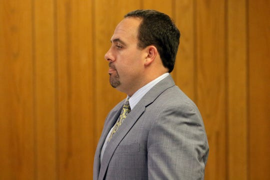 Defense Attorney, Travis J. Tormey, Esq. is shown in Judge Anthony N. Gallina's courtroom in Hackensack.  Tormey  was there representing Paul Frischer, who appeared via video.  Frischer was previously arrested and charged in the Garfield fatal hit and run of Giovanni Rivera. Thursday, September 20, 2018