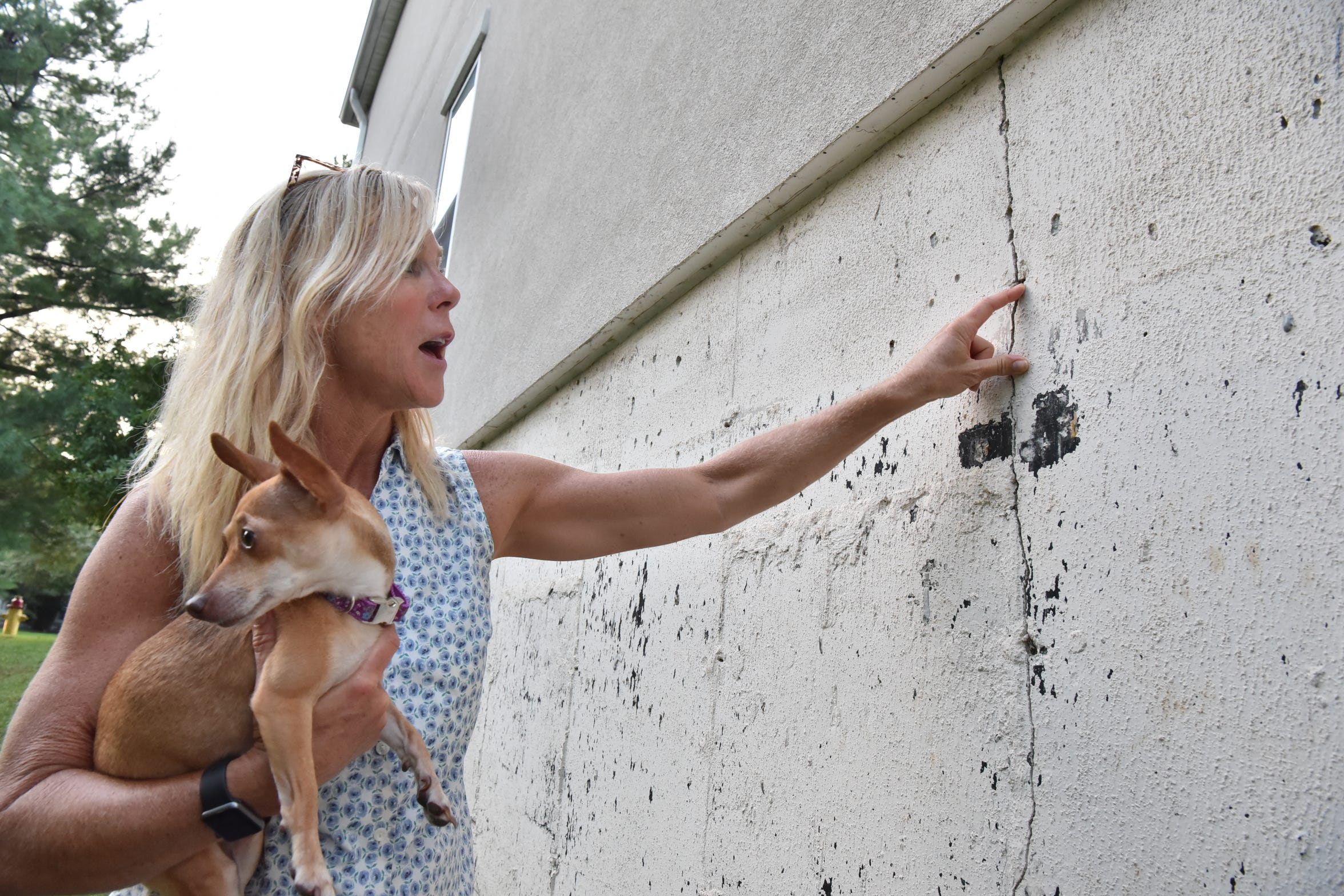 Meaghan Kelly, with Rosa, a foster dog, points to a crack in the foundation of her town home at Brittany Chase in Wayne on Sept. 19. Her unit has been identified by the condo association as the center of an issue that could cost her neighbors a total of $3 million, or more, to repair.