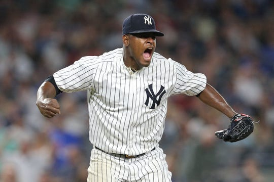 New York Yankees starting pitcher Luis Severino (40) reacts after the top of the seventh inning against the Boston Red Sox at Yankee Stadium.