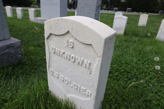 An unidentified Union soldier's grave in Gettysburg National Cemetery.