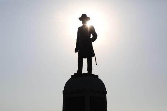A statue of U.S. Army Maj. Gen. Alexander Stuart Webb on the Gettysburg battlefield.