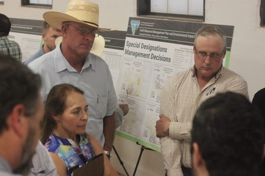 Ranchers from the Hope community discuss their concerns regarding the U.S. Bureau of Land Management's proposed revisions to its Pecos District, which contains Eddy, Lea and Chaves counties, Sept. 19, 2018 at the Hope Community Center.