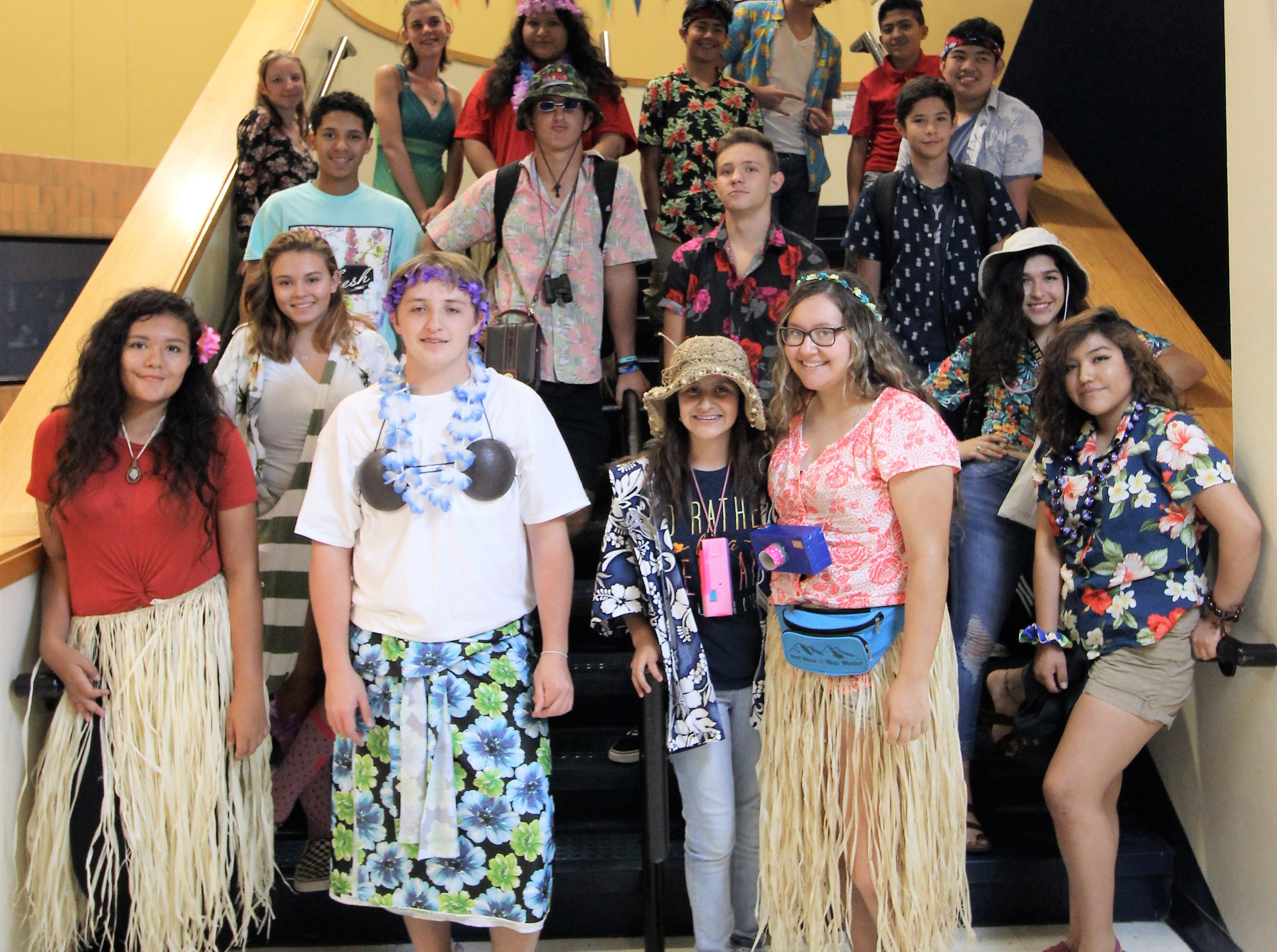 Students dress up for Hawaiian Day at Ruidoso High School during spirit week. 2018.
