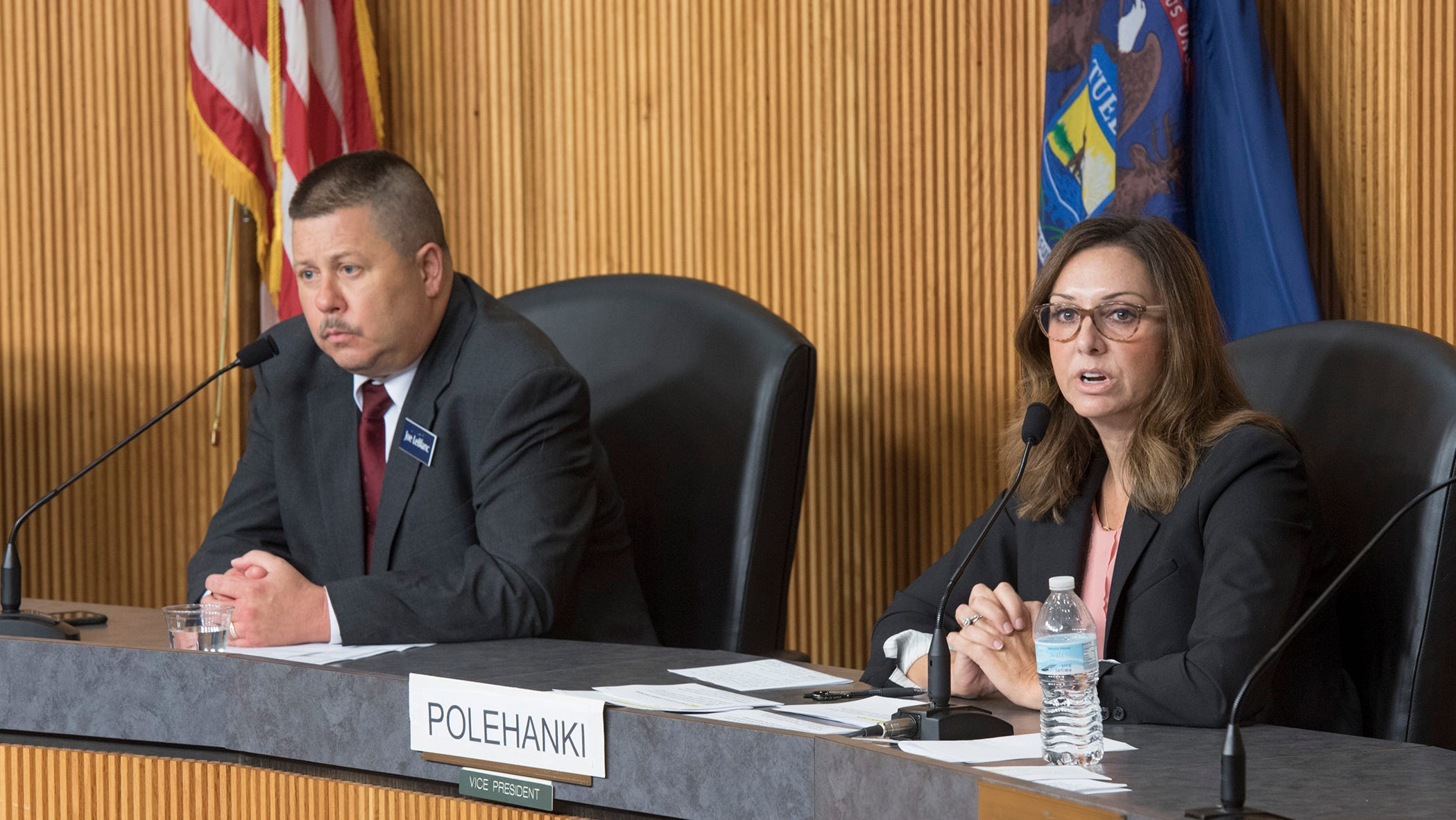 Candidates for state senate in the 7th district, Joe LeBlanc for the Libertarian Party, and Dayna Polehanki, Democratic Party nominee, speaking at the League of Women Voters forum in Livonia. Republican candidate Laura Cox did not attend the forum.