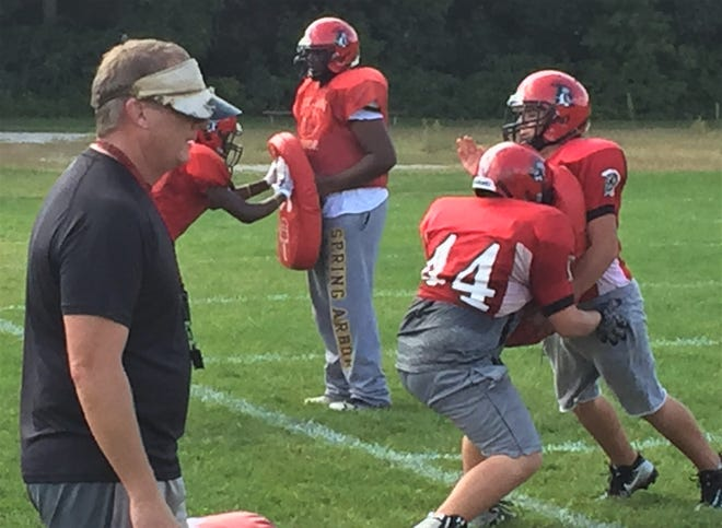 Clarenceville coach Ryan Irish (left) conducted practice on Wednesday with primarily JV level freshman and sophomore players.