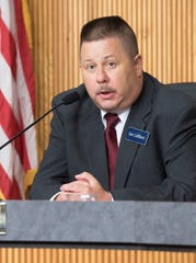 Libertarian candidate for state Senate, Joe LeBlanc, speaking at the League of Women Voters forum in Livonia.