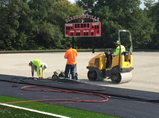 Workers are expected to install the newly synthetic field turf field this week at Clarenceville's David B. McDowell at Tim Shaw Stadium.